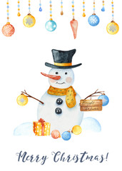 Watercolor winter card with a snowman, snowflakes, Christmas toys, snowdrifts. Christmas poster for cards, invitations, congratulatory cards.