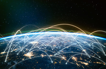 Network connected across planet Earth ,  view from space. Concept of smart wireless communication technology . Some elements of this image furnished by NASA Wall mural