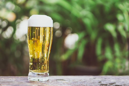 glass of cold fresh beer on wooden table over garden background