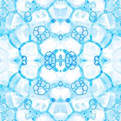 Blue seamless pattern. Amazing delicate soap bubbl