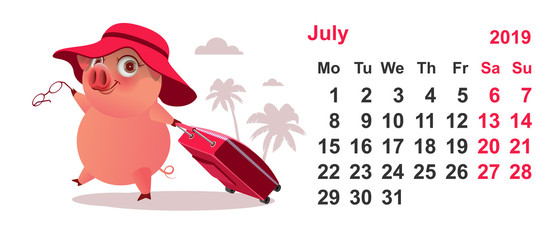 Calendar July 2019 pig gathered on vacation with suitcase