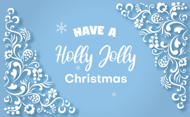 Blue Holly Jolly Christmas greeting card with white ornament.