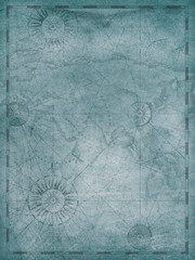 Old blue world map in vintage style