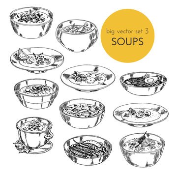 illustration with set of different cuisines soups. Vector illustration hand drawn, graphic. big vector set