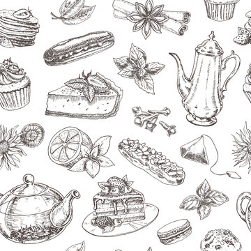 seamless pattern of tea and desserts. hand drawn vector illustration. sketch graphic set illustration of  tea, sweets, cakes and desserts