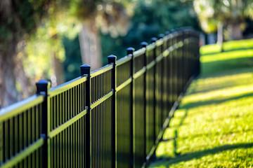 Black Aluminum Fence 3 Rails Wall mural