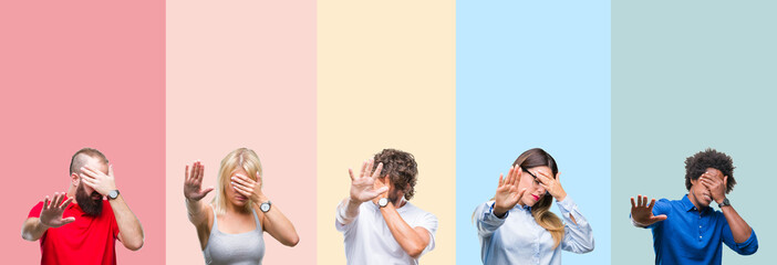 Collage of group of young people over colorful vintage isolated background covering eyes with hands and doing stop gesture with sad and fear expression. Embarrassed and negative concept.