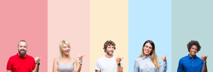 Collage of group of young people over colorful vintage isolated background smiling with happy face looking and pointing to the side with thumb up.