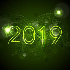 2019 green glowing neon New Year background