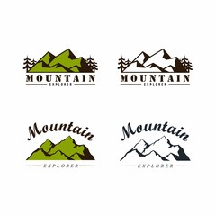 Forest, Mountain Adventure Badge Vector Logo, Sign Icon Template Set