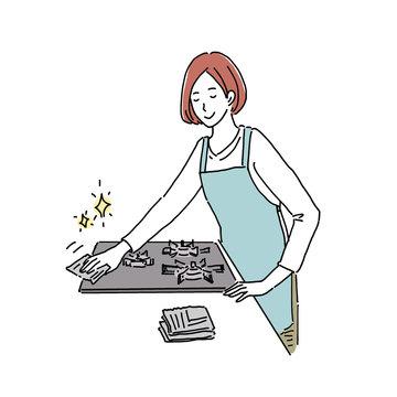 コンロを拭く女性 イラスト