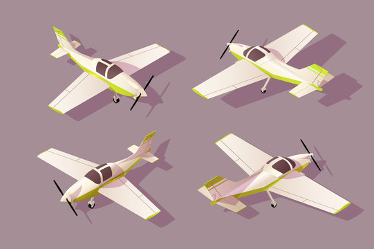 Set light aircraft for transportation by air with different view.