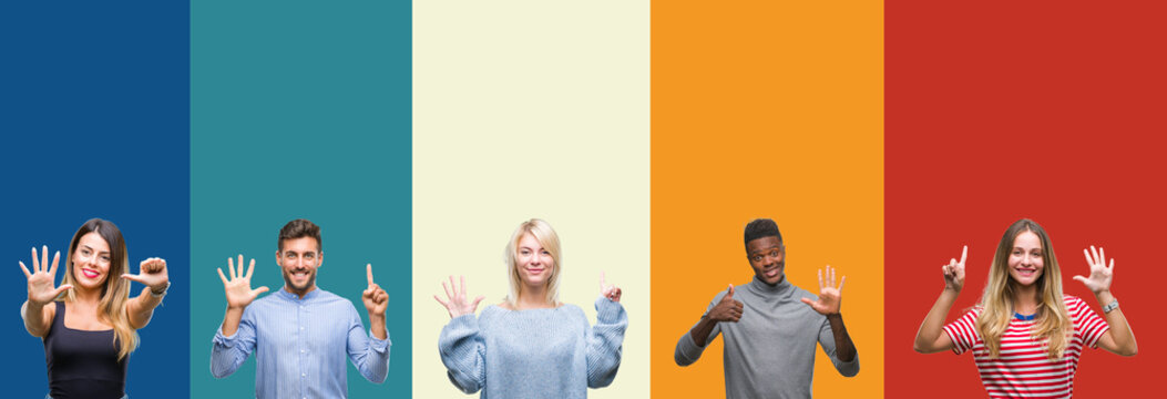 Collage of group of young people over colorful vintage isolated background showing and pointing up with fingers number six while smiling confident and happy.