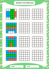 Repeat colorful pattern. Cube grid with squares. Special for preschool kids. Worksheet for practicing fine motor skills. Improving skills tasks. A4. Snap game. 5x5