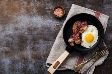 Papiers peints Ouf Traditional English breakfast with fried eggs and bacon in cast iron pan on dark concrete background. Top view.