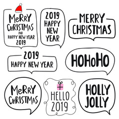 Set of hand drawn lettering funny quotes for merry christmas and happy new year 2019. Vector lettering illustrations for greeting card, stickers, t shirt, posters design.