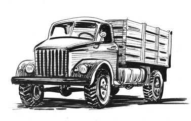 Old American truck. Ink black and white illustration