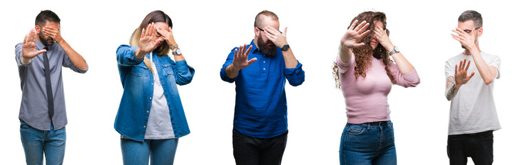 Collage of group of young casual people over isolated background covering eyes with hands and doing stop gesture with sad and fear expression. Embarrassed and negative concept.