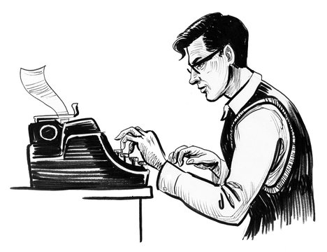 Writer in glasses typing on retro typewriter. Ink black and white drawing