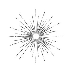 Light rays, sunburst and rays of sun. Firework icon. Design elements, linear drawing, vintage hipster style. Light rays sunburst, arrow, ribbon Vector Illustration