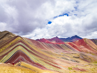 Views from the peak of the Vinicunca mountain (Rainbow mountain)