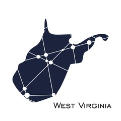 Image relative to USA travel. West Virginia state map textured by lines and dots pattern