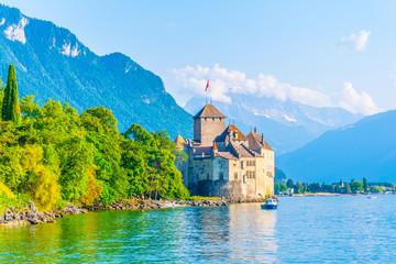 Chillon castle situated on shore of the Geneva lake in Switzerland Wall mural