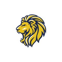 Fototapeta Blue Yellow Angry Lion Head, Vector Logo Design, Illustration, Template