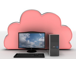 3d render of Electronic Devices with cloud server . 3d rendered illustration