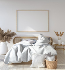 Mock-up poster frame in Scandinavian bedroom, Bohemian style, 3d render