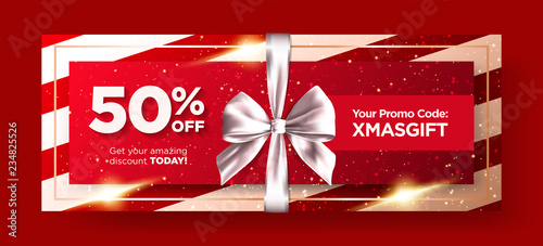 Christmas Gift Card Poster.Christmas Gift Voucher Or Xmas Gift Card Vector Design