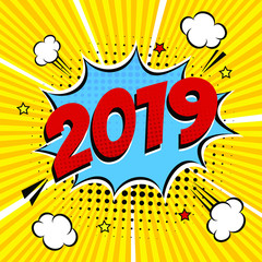 2019 happy new year christmas comic pop art speech bubble vector illustration. Colorful pop art style sound effect. Halftone, vintage comic sound effects isolated on rays background.