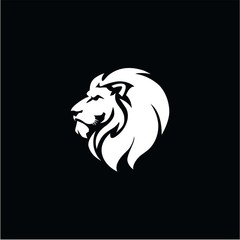 Angry Lion Head Black and White Logo, Sign, Vector Design