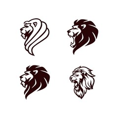 Angry Lion Head Black and White Logo, Sign, Vector Design Set