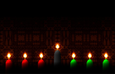Kwanzaa. Concept of an African American festival in the United States. 7 candles of traditional colors. Ethnic patterns on the background.