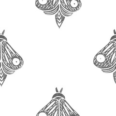 Butterflies. Seamless pattern. Linocut handmade vector illustration. Gray color. Isolated on white.