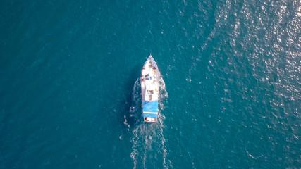 Fishing boat at sea - Aerial image