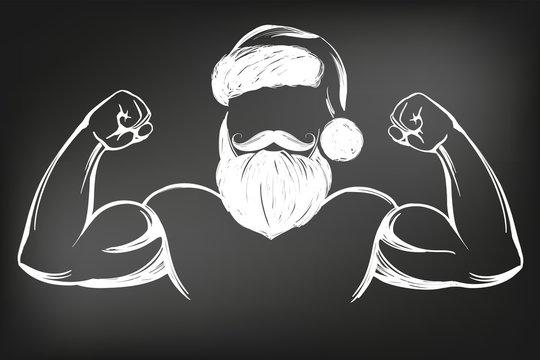 Santa Claus strongman, sport, Christmas symbol hand drawn vector illustration sketch drawn in chalk on a black board