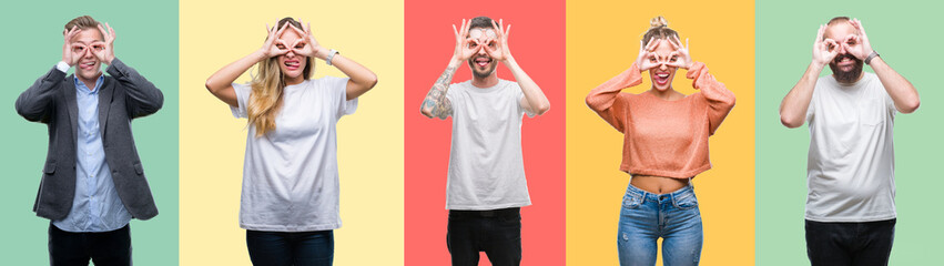 Collage of group people, women and men over colorful isolated background doing ok gesture like binoculars sticking tongue out, eyes looking through fingers. Crazy expression.