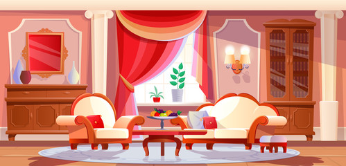 Interior of beautiful, luxurious living room with furniture and items.
