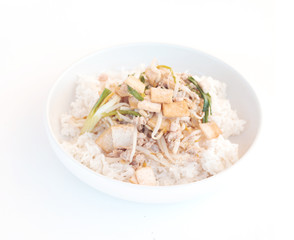 Rice topped .Stir fried bean sprouts with tofu, Thai food
