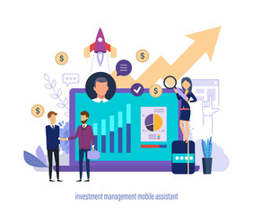 Investment management mobile assistant. Virtual business sales and investment assistant.