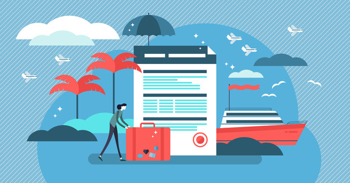 Travel insurance vector illustration with stylized tourist and agreement.