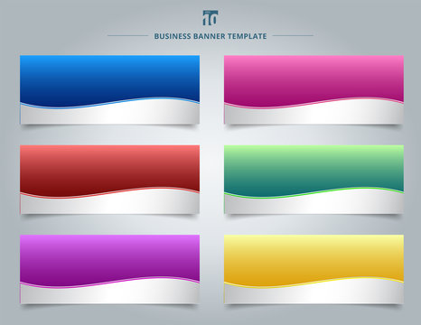 Set of templates business banner web design abstract stripe wave lines graphic blue, red, yellow, purple, pink, green gradient color background.