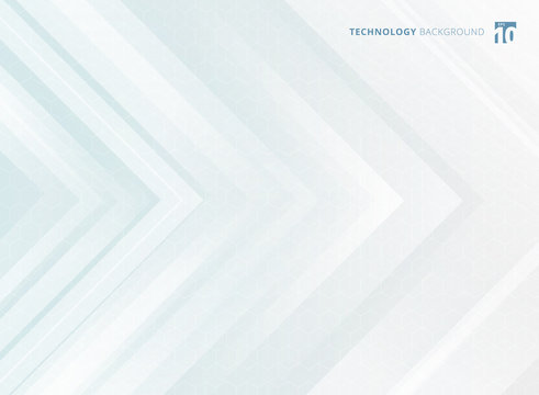 Abstract geometric white arrows overlapping background and hexagons pattern texture technology futuristic concept.