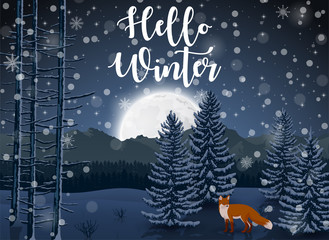 Happy Winter with evening Forest Landscape and fox animal