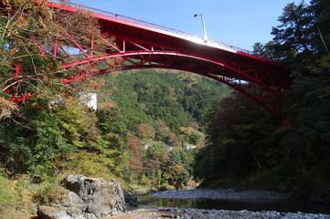 渓谷の赤い橋