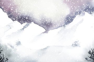 Wall Mural - Winter wonderland landscape painted by watercolor vector