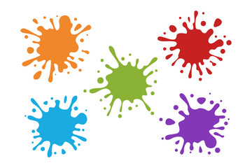 Splash Water Colorful Set Collection Vector splatter paint art element