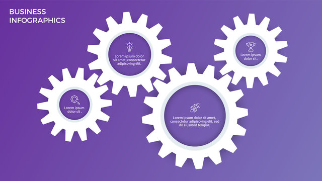 Business infographics. Timeline with 4 steps, options, gears. Vector template.